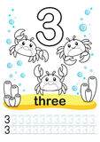 Coloring printable worksheet for kindergarten and preschool. We train to write numbers. Math exercises. Bright figures on a marine Royalty Free Stock Photos