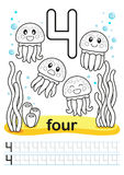 Coloring printable worksheet for kindergarten and preschool. We train to write numbers. Math exercises. Bright figures on a marine Stock Photo