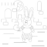 Coloring Rabbit Actor. Coloring with funny cartoon rabbit with skull Stock Images