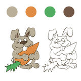Coloring rabbit with carrot for children Royalty Free Stock Photos