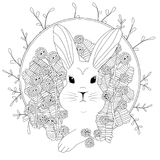 Coloring rabbit in flowers. Coloring rabbit in Magnolia. realistic outline illustration. Vector detailed flowers and leaves with small parts Stock Photo