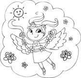 Coloring rainbow fairy girl Royalty Free Stock Photography