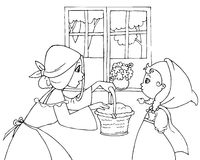 Coloring Red Riding Hood and mom vector. Mom is giving a small basket to Little Red Riding Hood. Digital coloring illustration of Little Red Riding Hood tale Royalty Free Stock Photo