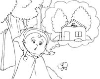 Coloring Red Riding Hood in the wood vector Royalty Free Stock Image