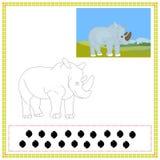 Coloring Rhinoceros. Coloring book of Wild animals 05 - rhinoceros Stock Photography