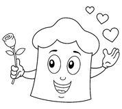 Coloring Romantic Chef Hat Holding a Rose Stock Photography
