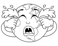 Coloring Sad Crying Planet Earth Character Stock Photo