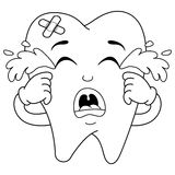 Coloring Sad Crying Sick Tooth Character Stock Photography