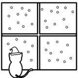 Coloring santa cat. An illustration of a cat Royalty Free Illustration