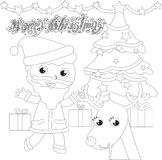 Coloring Santa Claus with tree and reindeer Stock Photos
