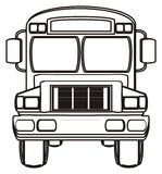 Coloring of school bus Stock Images