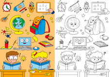 Coloring school elements for little kids Royalty Free Stock Images