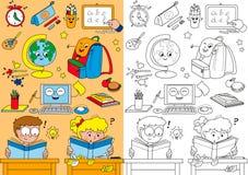 Coloring school elements for little kids vector illustration