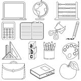 Coloring School Icons Royalty Free Stock Photos