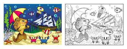 Coloring the sea bottom with a goldfish Stock Photo