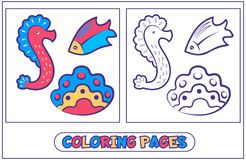 Marine inhabitants coloring pages7. Coloring with sea horse, shell and fish. Book for destkogo creativity. Black-and-white drawing from lines for coloring with Royalty Free Stock Images