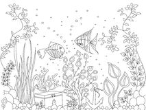 Coloring seabed fish vector illustration Royalty Free Stock Images