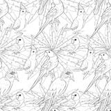 Coloring seamless pattern parrot ozherelovy, Masked Lovebird,   Royalty Free Stock Images