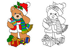 Coloring set christmas bear Stock Images