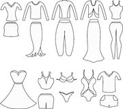 Coloring set of clothes for women. vector illustration Royalty Free Stock Photography