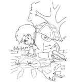 The coloring with a set of images of children in kindergarten Stock Images