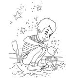 The coloring with a set of images of children in kindergarten Royalty Free Stock Photos