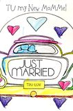 Coloring Sheet for New Mommy. Little childs Just Married coloring sheet shows printed letters Tu my new mommy on it.  Car has heart shaped wheels and hearts over Royalty Free Stock Photography