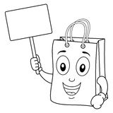 Coloring Shopping Bag with Blank Sign Stock Photography