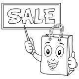 Coloring Shopping Bag with Sale Board Royalty Free Stock Images