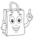 Coloring Shopping Bag with Thumbs Up Royalty Free Stock Photos
