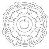 Coloring Simple Apple Mandala Royalty Free Stock Photo