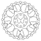 Coloring Simple Butterfly Mandala Royalty Free Stock Images