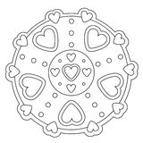 Coloring Simple Heart Mandala Royalty Free Stock Images