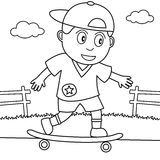 Coloring Skateboarder Playing in the Park Stock Photography
