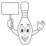 Coloring Skittle or Bowling Pin Character. Coloring illustration for kids: a cheerful cartoon bowling pin or skittle character smiling and holding a blank banner Stock Photos