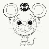Coloring, small, funny little mouse girl.  Royalty Free Stock Images