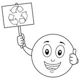Coloring Smiley Character with Recycle Sign Stock Images
