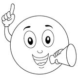 Coloring Smiley Emoticon with Megaphone. Coloring illustration for kids: a happy cartoon smiley emoticon character holding a megaphone, isolated on white Royalty Free Stock Photography