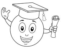 Coloring Smiley Graduation Hat & Diploma Stock Photos