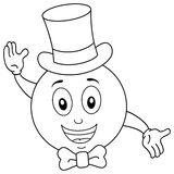 Coloring Smiley with Top Hat and Bow Tie. Coloring illustration for kids: a happy cartoon smiley emoticon character with bow tie and an elegant hat, isolated on Royalty Free Stock Images