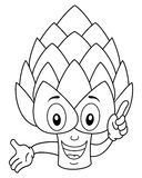 Coloring Smiling Artichoke Character Royalty Free Stock Photos