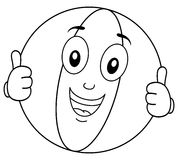Coloring Smiling Beach Ball Character. Coloring illustration for kids: a funny cartoon beach ball character smiling with thumbs up, isolated on white background Royalty Free Stock Photo