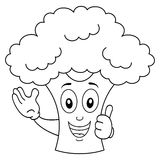 Coloring Smiling Broccoli Cartoon Character Stock Image
