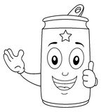 Coloring Smiling Soda Can Character Stock Image