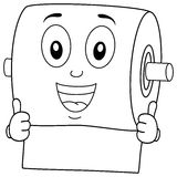 Coloring Smiling Toilet Paper Character Royalty Free Stock Photo