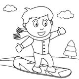 Coloring Snowboarder Boy on the Snow Royalty Free Stock Photography