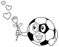 Coloring Soccer Ball Character with Rose. Coloring illustration for kids: a funny cartoon soccer ball character with a rose in his hand, isolated on white Stock Photos