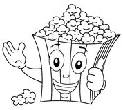 Coloring Striped Popcorn Bag Smiling. Coloring illustration for kids: a funny cartoon striped popcorn paper bag character smiling with thumbs up, isolated on vector illustration