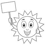 Coloring Summer Sun Character with Sign Stock Photo