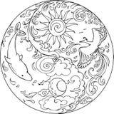 Coloring Tao Mandala Diksha. Coloring Tao with flying phoenix and swimming dolphins. This mandala is created for yoga meditation Stock Image